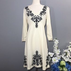 JOHNNY WAS LA ivory embroidered dress M bohemian